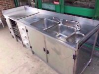 CATERING DOUBLE TANK SINK COMMERCIAL UNIT PUB KITCHEN SHOP CANTEEN BAR TAKEAWAY RESTAURANT CAFETERIA