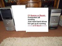 (2) Computers. (Sparess or repair)