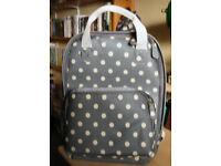 Grey Green Spotty Polka Dot Canvas Rucksack Fashion Backpack