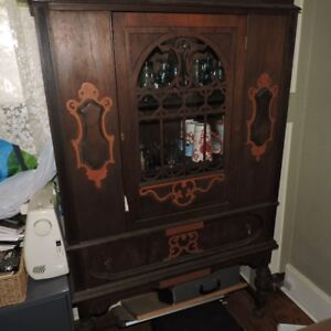 Antique diplay cabinet burl inlays