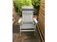Pair of quality light weight garden reclining chairs