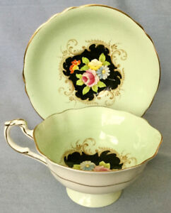 VINTAGE PARAGON MINT GREEN CUP & SAUCER * GORGEOUS WITH BLACK CE