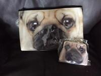 Pug make up bag & club purse set
