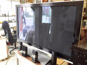 HITACHI 60 INCH FLAT SCREEN TV WITH SPEAKERS & CONTROL $250.00