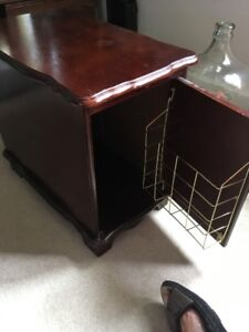 cherry finished older end table with pull out shelf