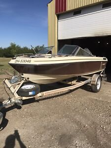 1989 Invader 16' Open Bow Boat and Trailer