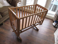 mamas & papas baby cradle or rocker made from birch wood the bearings have just been oiled