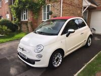 Fiat 500C cabriolet in white with red roof, tinted rear windows & 'Lounge' extras