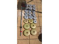 52.5kg Vinyl Barbell & Dumbbell Weights Set (dumbell, bench, press, squat, stand, ez)