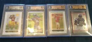 4 BGS 9.5 Football Rookie Cards Rc Rodgers Luck Peterson Smith