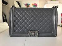 Chanel boy bag grey