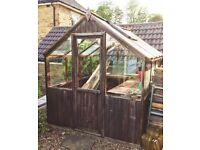 "Medium sized 8'10 x 6'8"" Greenhouse. Wooden Frame, Glass, and Staging. Good used condition"