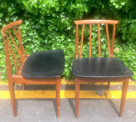 Set of 2 Vintage 'Elliott's of Newbury' Danish style teak chairs. Delivery. Modern / Midcentury.