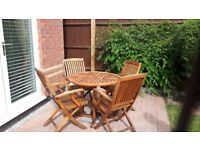 Teak Patio furniture set with table, 4 chairs and side table
