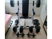 SQUAT FRAME RACK & DIP STAND WEIGHT LIFT CAGE,BENCH,CAST IRON DUMBELLS SET FLAT INCLINE DECLINE FID,