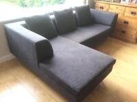 Dwell corner sofa in charcoal/ dark grey