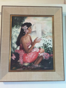 Original Painting, Hawaiian woman, framed, artist Alfred Smart