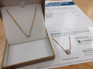 **0.80 CARAT** Stunning 14k Gold Chain with Diamond Pendant