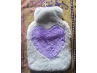 Fluffy Hot Water Bottle Case, Silver With A Purple Heart