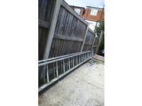 Extra long aluminium ladder.