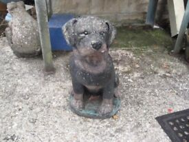 Lovely stone ornament of Boxer Pup stands about 20 inches high