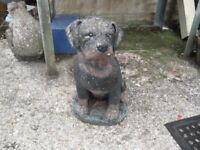 Lovely stone ornament of Rockweiller Pup stands about 20 inches high