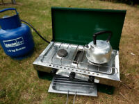 Camping stove with kettle and Butane gas supply