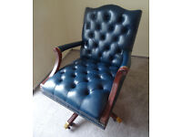 Blue Leather Vintage Gainsborough Chesterfield Captains Office Swivel Chair Brass Lion Feet