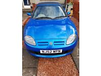 MGTF 1.8 EXCELLENT CONDITION TROPHY BLUE LONG MOT £950 ONO.