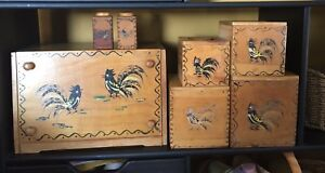 Vintage Kitchen Canister Woodpecker Woodware  Set of 7