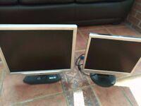 Two computer monitors