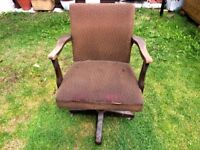 ANTIQUE WOODEN ARMCHAIR WITH MATERIAL UPHOLSTERY - PRE 1950'S
