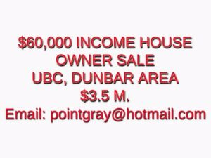 $60,000 ANNUAL INCOME HOUSE: SALE BY OWNER!