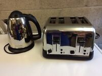 Electric Kettle & Four Slice Toaster In Chrome Finish