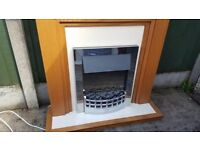 Silver Electric Fire With Surround Complete Base in Photo Excellent Condition Deliver Free Local