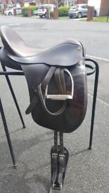 Brown Albion leather dressage saddle