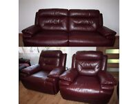 Leather 3 seats electric recliner sofa + 2 electric reclining arm chairs in deep red with FREE DELIV