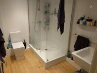 Free walk-in shower enclosure with shower tray, used; Leeds, Bramley.