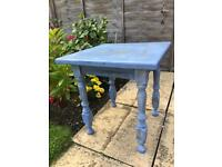 Distressed Shabby Chic Blue Solid Wood Side Table