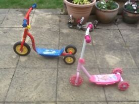 Outdoor scooters for 3yr plus-I have 2available at £10 each-Fireman Sam and Disney Princesses