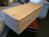 @EXTRA LONG WICKER OTTOMAN/TOY BOX/BLANKET BOX, VERY CLEAN@