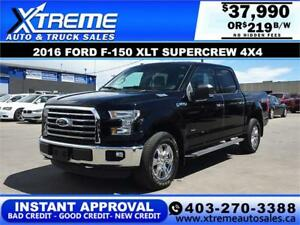 2016 Ford F-150 XLT SuperCrew 4x4 *INSTANT APPROVAL* $219/BW!