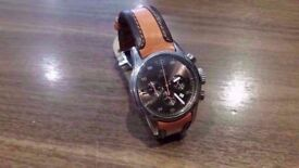 Breil BW0059 Gents 'Globe' Brown and Orange Leather Strap Watch