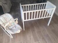 Mothercare lullaby rocker & mothercare crib