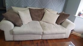 Comfy Cream Fabric Sofa - Spacious with Cream and Brown Cushions