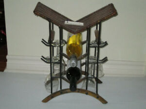 Vintage Wicker and Iron and Wood  Portable Wine Caddy