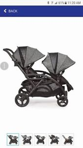 Contours® Options® Elite Tandem Stroller in Graphite and univers