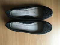 Next wide fit size 9 flat black shoes