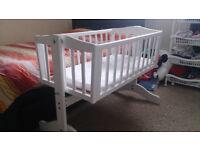 Baby swinging crib and mattres £25 - Saplings Bethany Swinging Crib - White