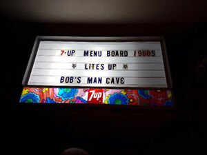 7UP 1960's menu board- lights
